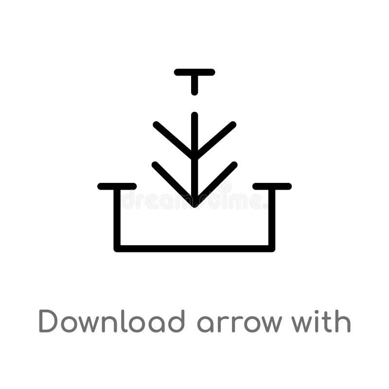 Entwurfsdownloadpfeil mit Linie Vektorikone lokalisiertes schwarzes einfaches Linienelementillustration vom Pfeilkonzept Editable vektor abbildung