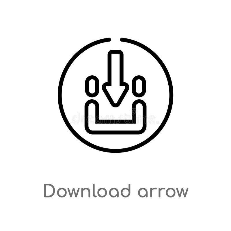 Entwurfsdownloadpfeil-Vektorikone lokalisiertes schwarzes einfaches Linienelementillustration vom Benutzerschnittstellenkonzept E lizenzfreie abbildung