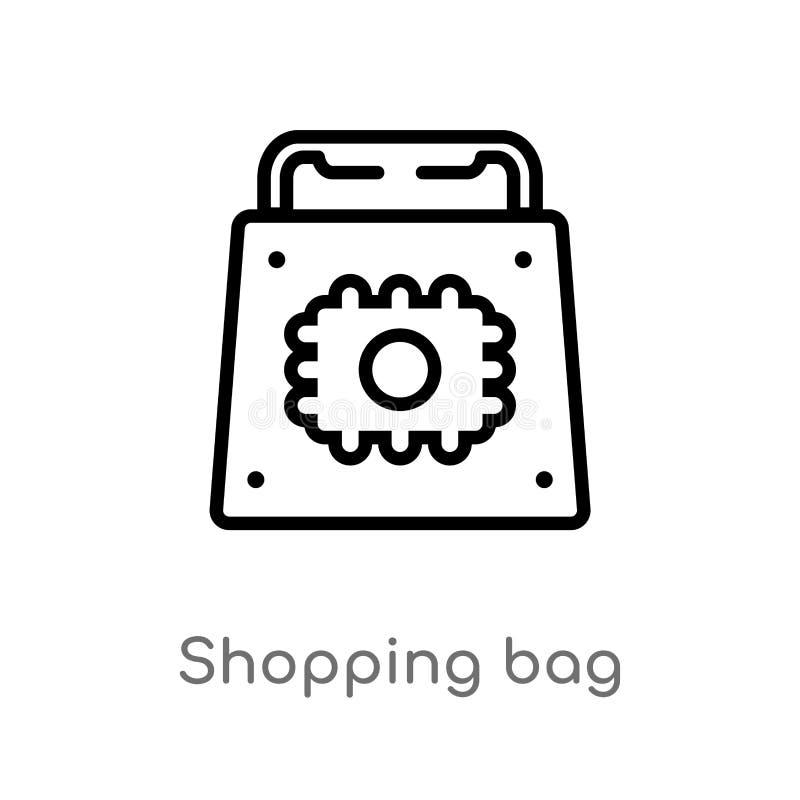Entwurfseinkaufstasche-Vektorikone lokalisiertes schwarzes einfaches Linienelementillustration vom Konzept der künstlichen Intell stock abbildung