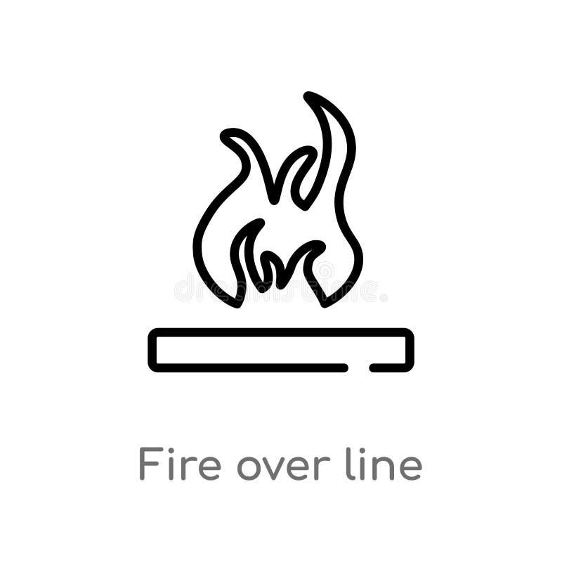 Entwurfsfeuer ?ber Linie Vektorikone lokalisiertes schwarzes einfaches Linienelementillustration vom Formkonzept Editable Vektora stock abbildung