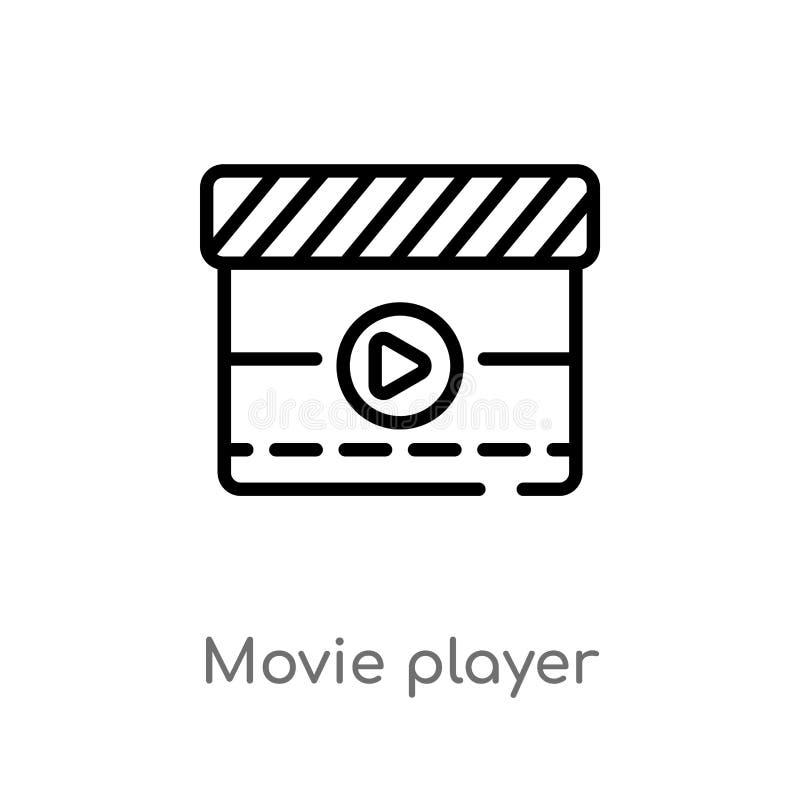 Entwurfsfilmspieler-Vektorikone lokalisiertes schwarzes einfaches Linienelementillustration vom Kinokonzept Editable Vektoranschl stock abbildung