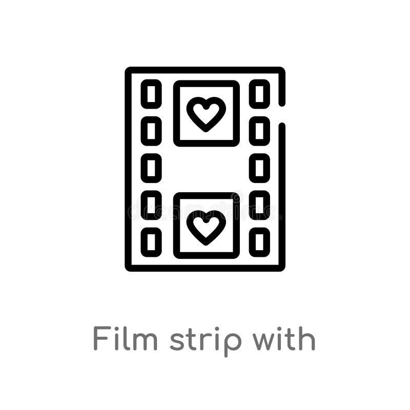 Entwurfsfilmstreifen mit Herzvektorikone lokalisiertes schwarzes einfaches Linienelementillustration vom Formkonzept Editable Vek lizenzfreie abbildung