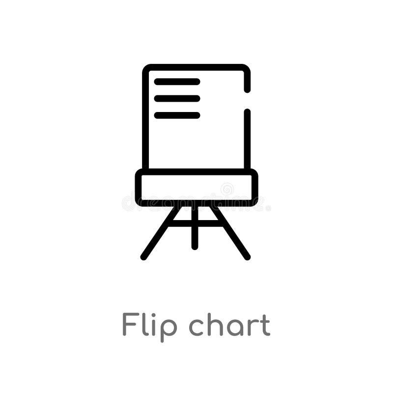 EntwurfsFlip-Chart Vektorikone lokalisiertes schwarzes einfaches Linienelementillustration vom Ausbildungskonzept Editable Vektor stock abbildung