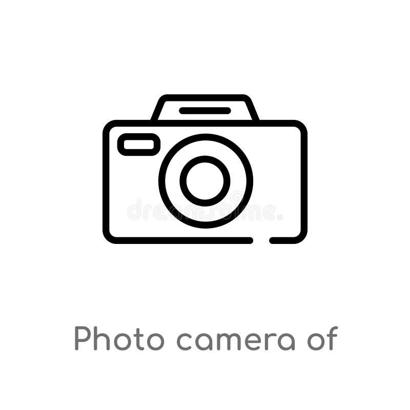 Entwurfsfotokamera der gerundeten quadratischen Formvektorikone lokalisiertes schwarzes einfaches Linienelementillustration von d stock abbildung