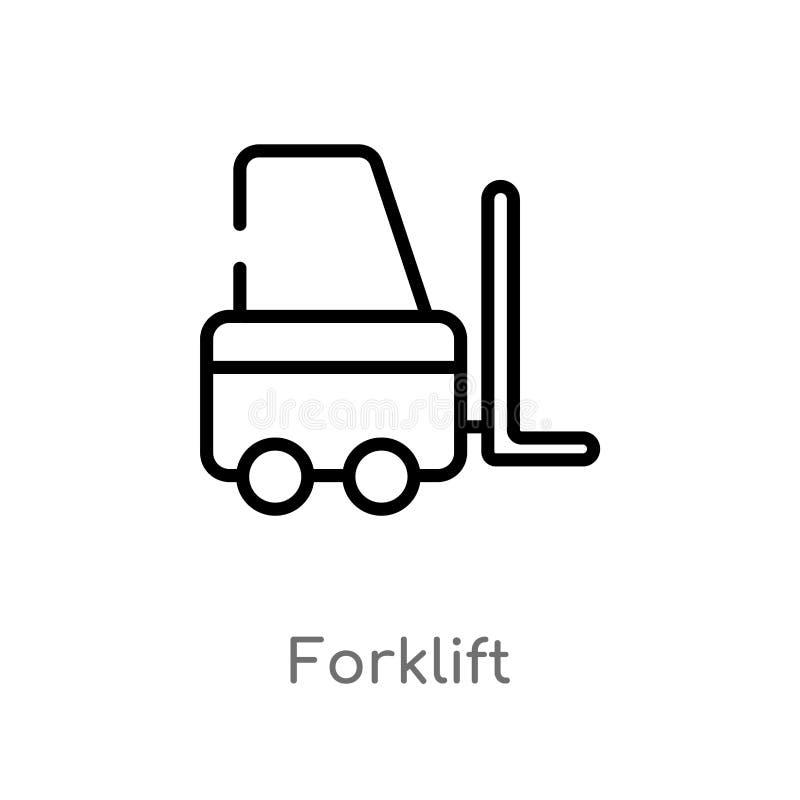 Entwurfsgabelstapler-Vektorikone lokalisiertes schwarzes einfaches Linienelementillustration von der Lieferung und vom logistisch stock abbildung