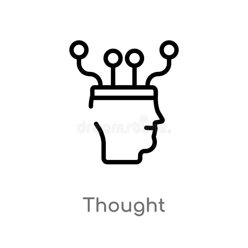 Entwurfsgedanken-Vektorikone lokalisiertes schwarzes einfaches Linienelementillustration vom Konzept der k?nstlichen Intelligenz  lizenzfreie abbildung