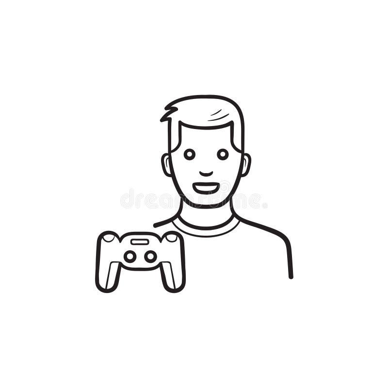 Entwurfsgekritzelikone des Gamer und gamepad Hand gezogene stock abbildung