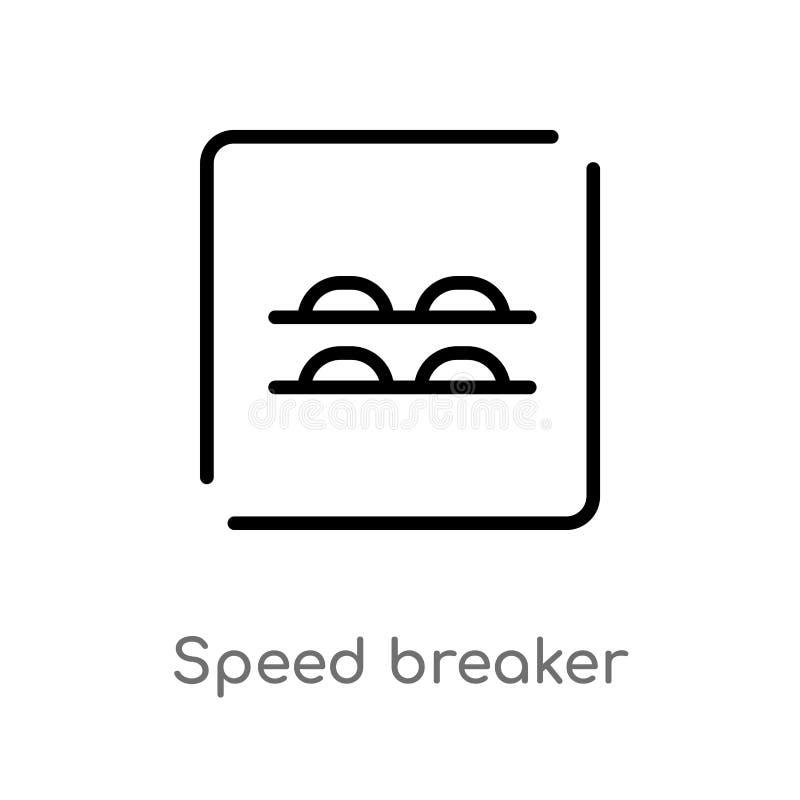 Entwurfsgeschwindigkeitsunterbrecher-Vektorikone lokalisiertes schwarzes einfaches Linienelementillustration von den Karten und v stock abbildung