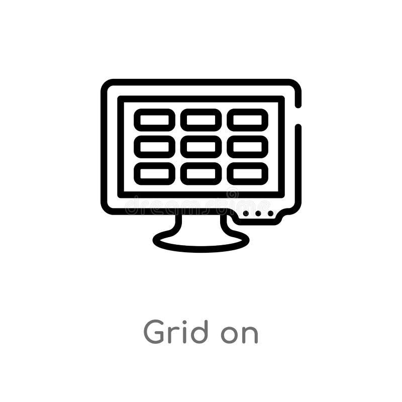 Entwurfsgitter auf Vektorikone lokalisiertes schwarzes einfaches Linienelementillustration vom Netzkonzept editable Vektoranschla stock abbildung