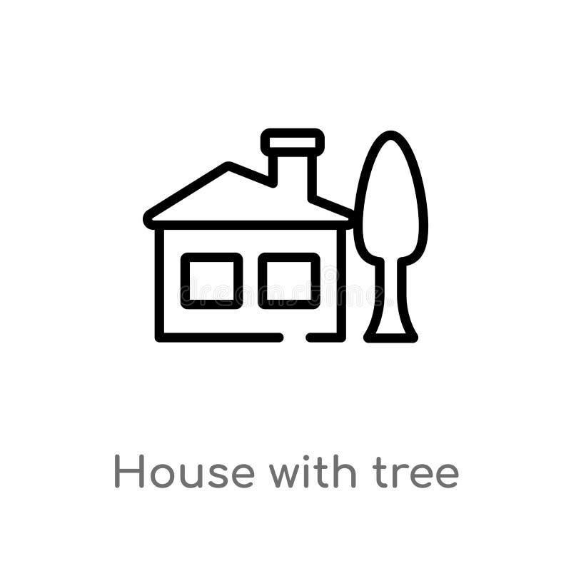 Entwurfshaus mit Baumvektorikone lokalisiertes schwarzes einfaches Linienelementillustration vom Geb?udekonzept Editable Vektor lizenzfreie abbildung