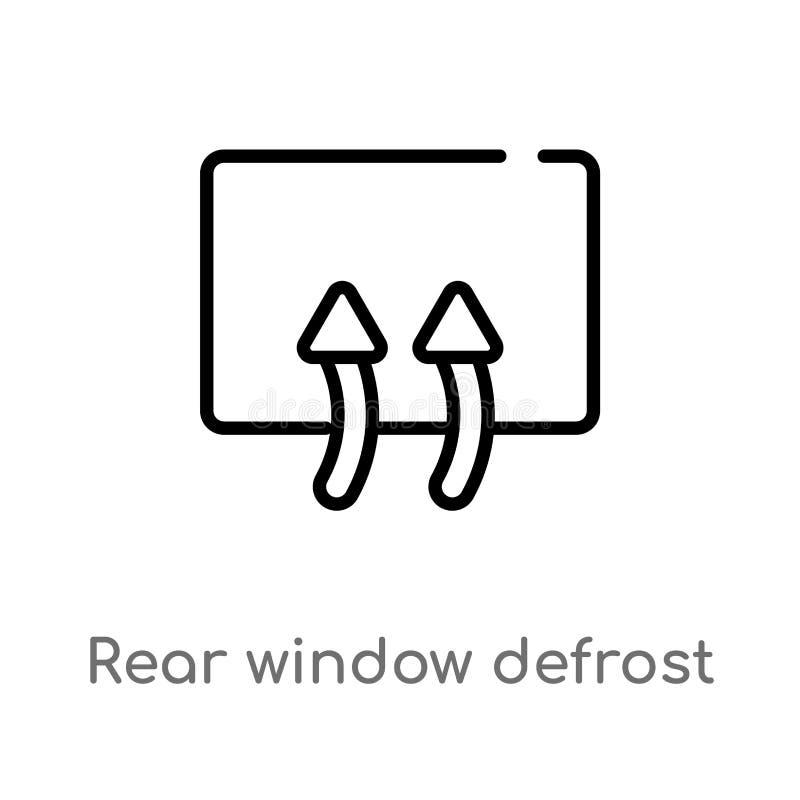 Entwurfsheckscheibe entfrosten Vektorikone lokalisiertes schwarzes einfaches Linienelementillustration vom Benutzerschnittstellen stock abbildung