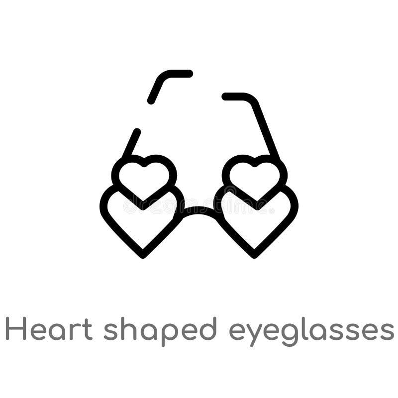 Entwurfsherz formte Brillenvektorikone lokalisiertes schwarzes einfaches Linienelementillustration vom Frauenkleidungskonzept edi stock abbildung
