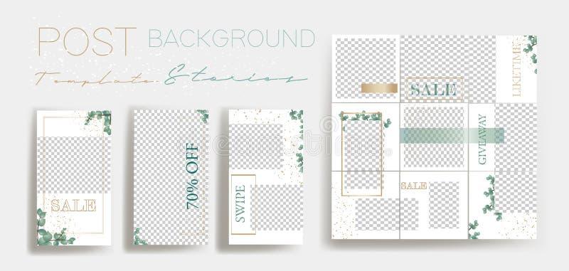 Entwurfshintergr?nde f?r Social Media-Fahne Stellen Sie von den Instagram-Geschichten-Rahmenschablonen ein Vektorabdeckung stock abbildung