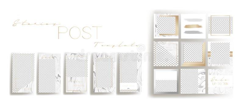 Entwurfshintergr?nde f?r Social Media-Fahne Stellen Sie von instagram Geschichten und von den Postenrahmenschablonen ein Vektorab stock abbildung