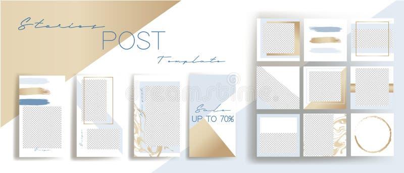 Entwurfshintergr?nde f?r Social Media-Fahne Stellen Sie von instagram Geschichten und von den Postenrahmenschablonen ein Vektorab vektor abbildung