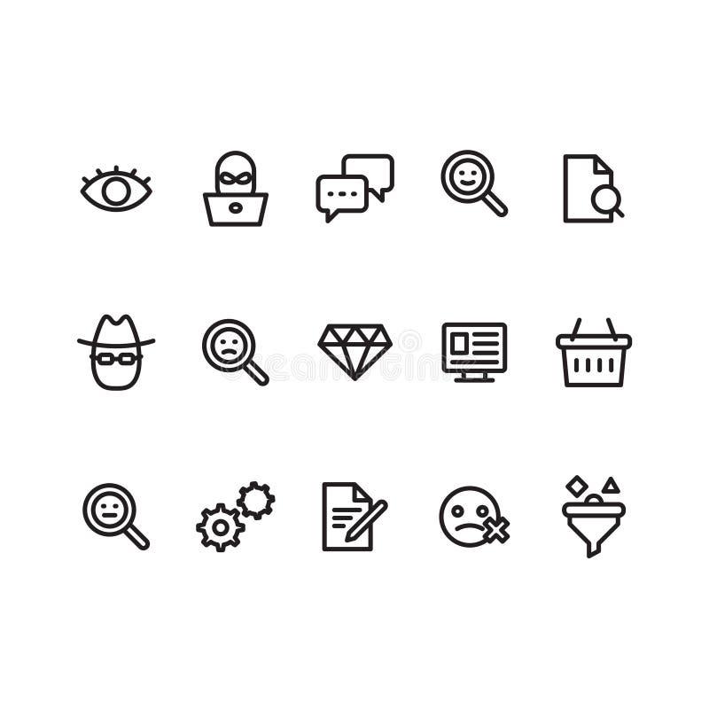Entwurfsikonen-Symbolsatz Enthält Ikonenauge, Schwätzchenwolke, Vergrößerungsglas, Mann mit Hut und Gläser, Verbraucherkorb, Eins vektor abbildung
