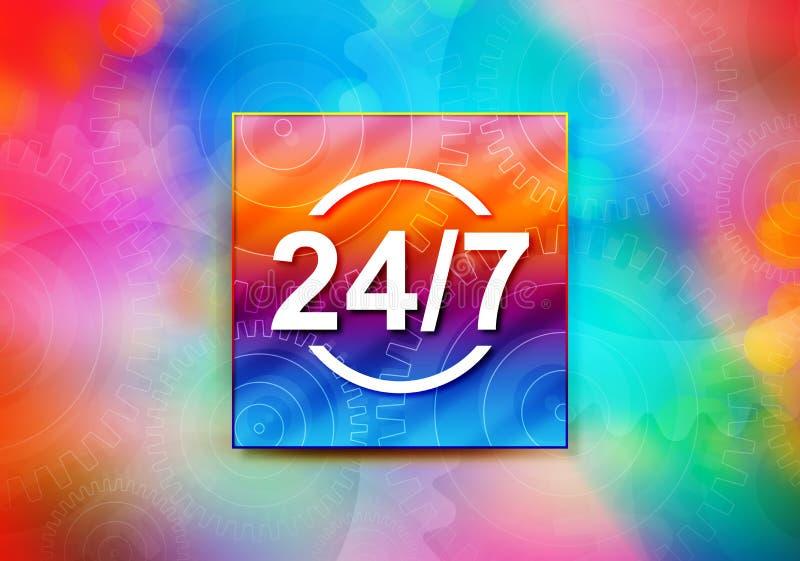24/7 Entwurfsillustration bokeh Hintergrund der Ikonenzusammenfassung bunte vektor abbildung