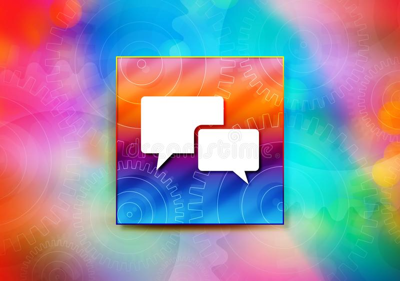 Entwurfsillustration bokeh Hintergrund der Schwätzchenblasenikonenzusammenfassung bunte stock abbildung