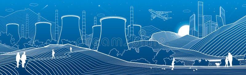 Entwurfsindustrieillustration panoramisch Nachtstadtszene Leute, die am Garten gehen Kraftwerk in den Bergen Wei?e Linien auf Bla vektor abbildung
