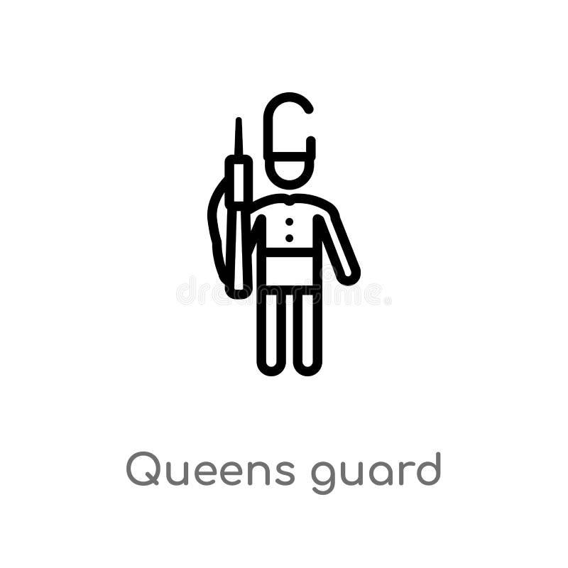 Entwurfsköniginnen schützen Vektorikone lokalisiertes schwarzes einfaches Linienelementillustration vom Leutekonzept Editable Vek vektor abbildung