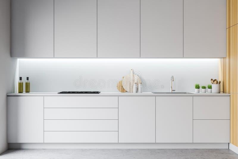 Entwurfskücheninnenraum mit Möbeln 3d übertragen lizenzfreie abbildung
