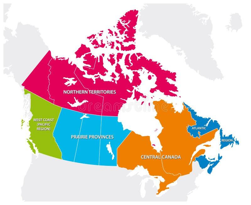 Entwurfskarte der fünf kanadischen Regionen vektor abbildung