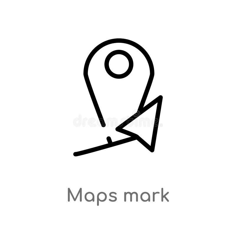 Entwurfskarten markieren Vektorikone lokalisiertes schwarzes einfaches Linienelementillustration von den Karten und vom Flaggenko vektor abbildung