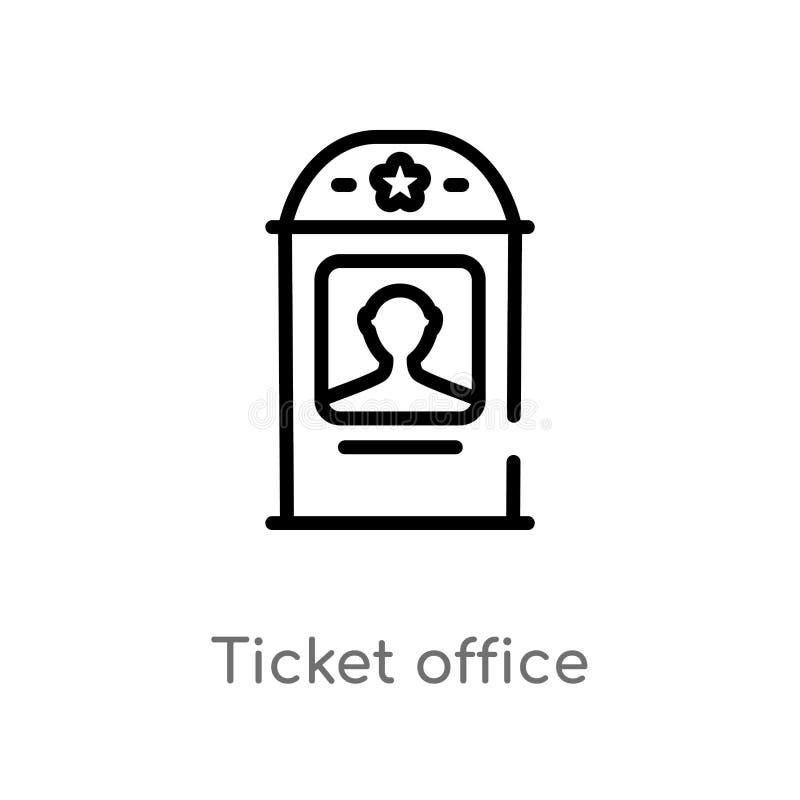 Entwurfskartenschalter-Vektorikone lokalisiertes schwarzes einfaches Linienelementillustration vom Kinokonzept Editable Vektorans lizenzfreie abbildung
