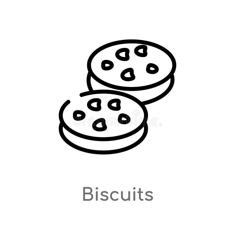 Entwurfskeks-Vektorikone lokalisiertes schwarzes einfaches Linienelementillustration vom Nahrungsmittelkonzept editable Vektorans vektor abbildung
