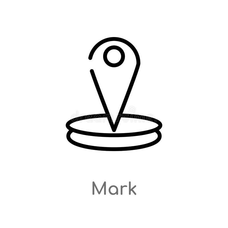 Entwurfskennzeichen-Vektorikone lokalisiertes schwarzes einfaches Linienelementillustration von den Karten und vom Flaggenkonzept lizenzfreie abbildung