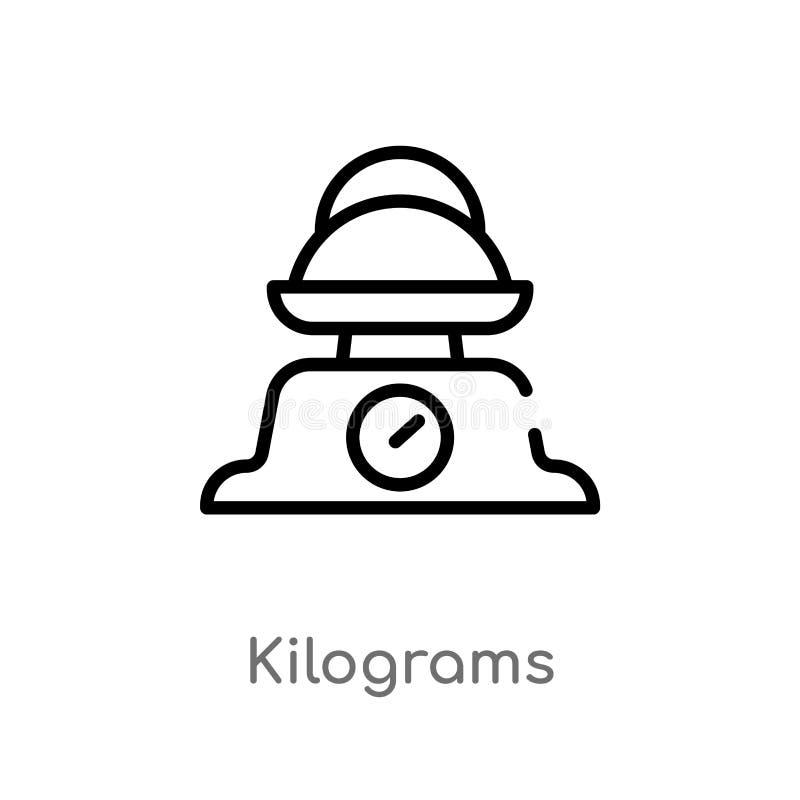 Entwurfskilogramm-Vektorikone lokalisiertes schwarzes einfaches Linienelementillustration von anderem Konzept Editable Vektoransc lizenzfreie abbildung