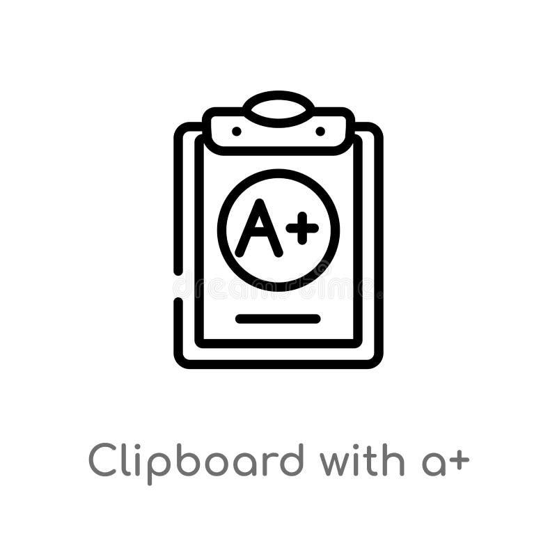 Entwurfsklemmbrett mit a+-Vektorikone lokalisiertes schwarzes einfaches Linienelementillustration vom Ausbildungskonzept Editable stock abbildung