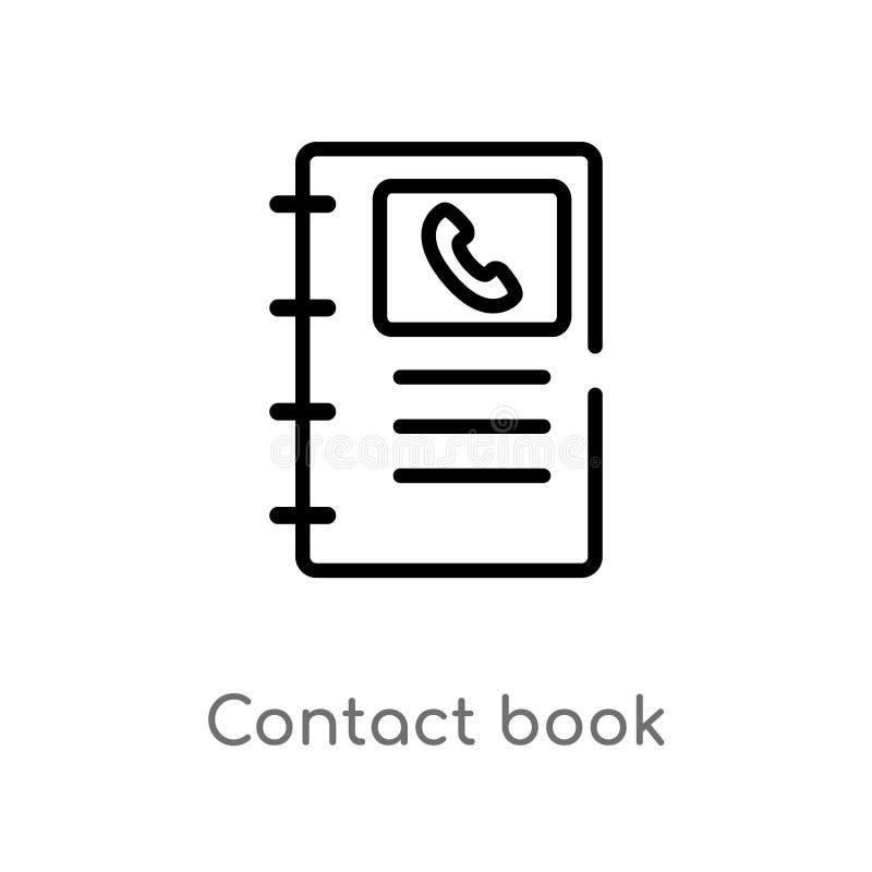 Entwurfskontaktbuch-Vektorikone lokalisiertes schwarzes einfaches Linienelementillustration vom Vernetzungskonzept Editable Vekto stock abbildung