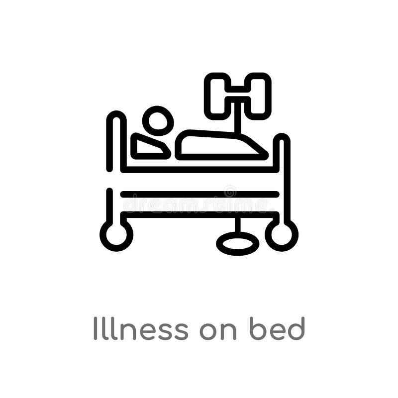 Entwurfskrankheit auf Bettvektorikone lokalisiertes schwarzes einfaches Linienelementillustration vom medizinischen Konzept Edita stock abbildung