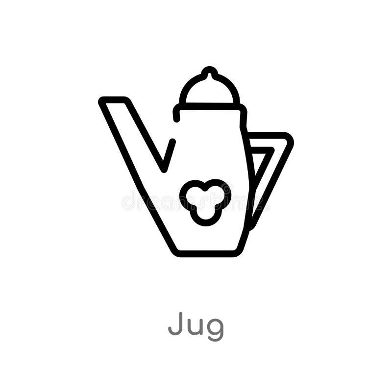 Entwurfskrug-Vektorikone lokalisiertes schwarzes einfaches Linienelementillustration vom Danksagungskonzept editable Vektoranschl stock abbildung