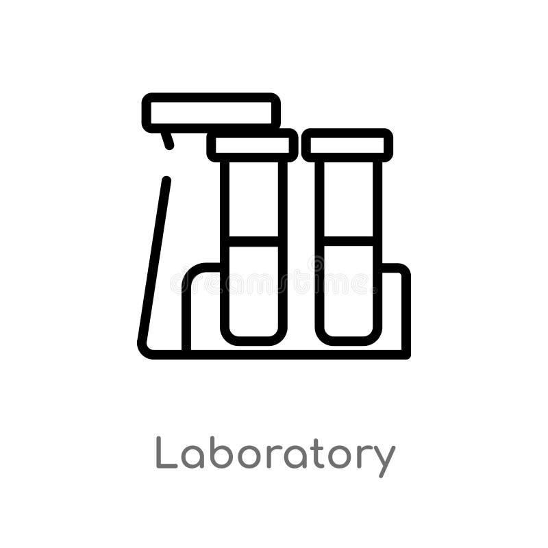 Entwurfslaborvektorikone lokalisiertes schwarzes einfaches Linienelementillustration vom Chemiekonzept Editable Vektoranschlag vektor abbildung