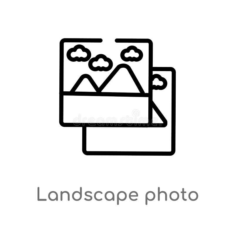 Entwurfslandschaftsfoto-Vektorikone lokalisiertes schwarzes einfaches Linienelementillustration vom elektronischen Materialfüllek stock abbildung
