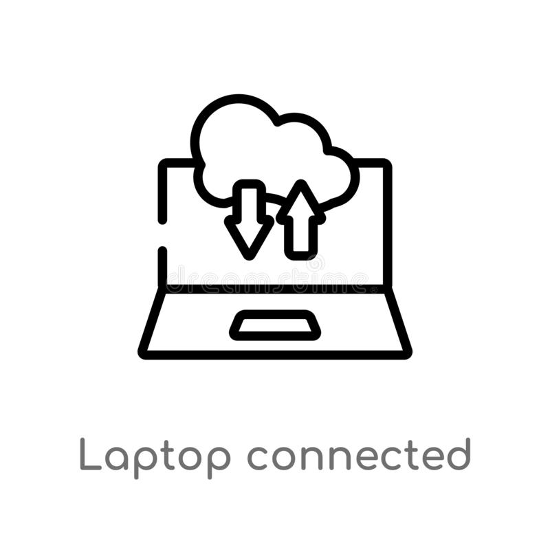 Entwurfslaptop angeschlossen, um Vektorikone zu bewölken lokalisiertes schwarzes einfaches Linienelementillustration vom Computer stock abbildung