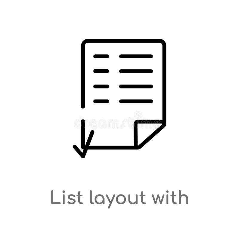 Entwurfslistenplan mit Auswahlk?stchenvektorikone lokalisiertes schwarzes einfaches Linienelementillustration vom Benutzerschnitt lizenzfreie abbildung