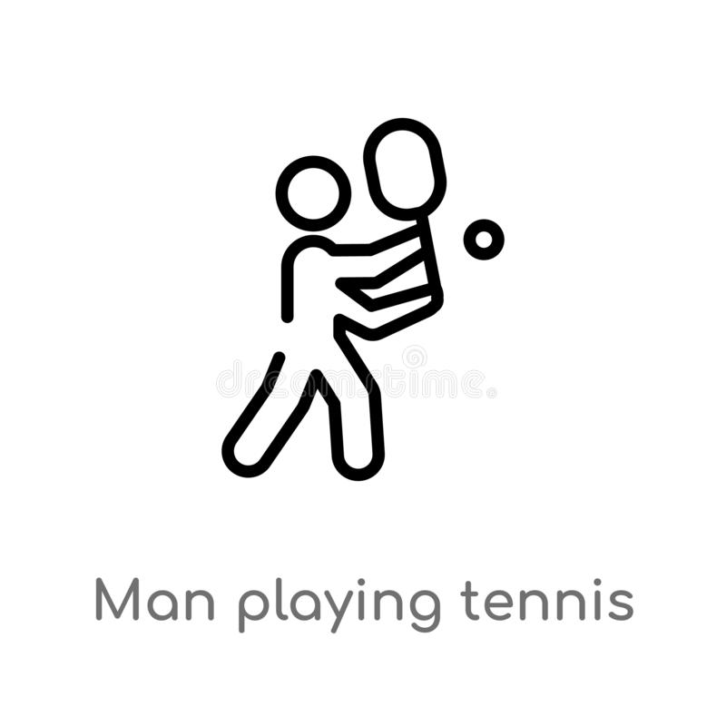 Entwurfsmann, der Tennisvektorikone spielt lokalisiertes schwarzes einfaches Linienelementillustration vom Sportkonzept Editable  lizenzfreie abbildung
