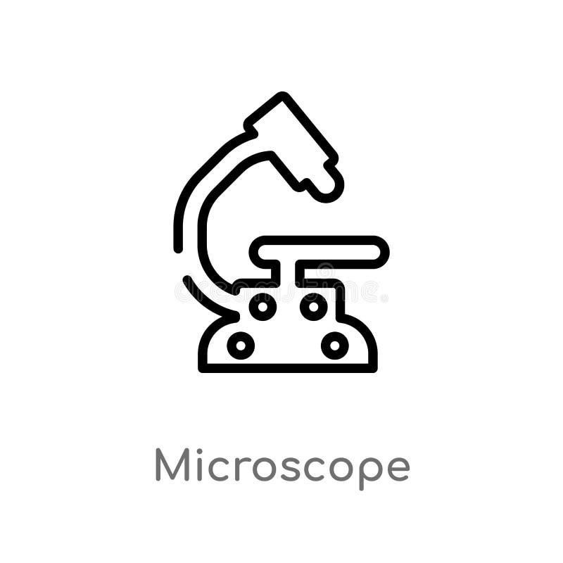 Entwurfsmikroskop-Vektorikone lokalisiertes schwarzes einfaches Linienelementillustration vom Konzept der Ausbildung 2 Editable V stock abbildung