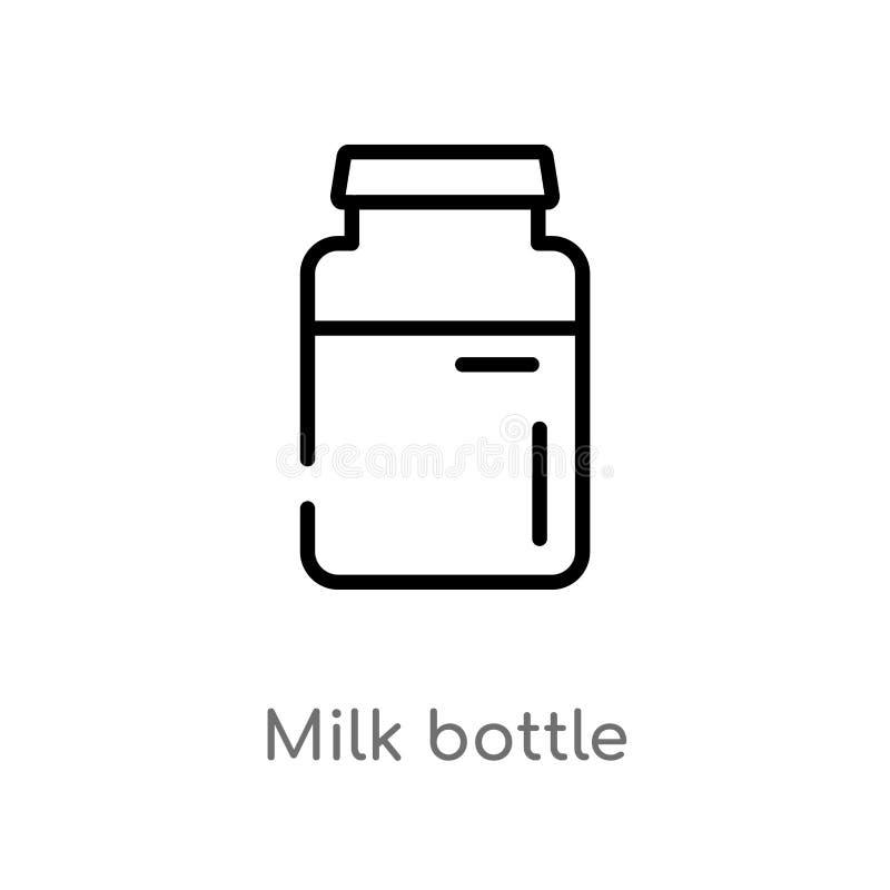 EntwurfsMilchflasche-Vektorikone lokalisiertes schwarzes einfaches Linienelementillustration vom Schnellimbisskonzept Editable Ve lizenzfreie abbildung