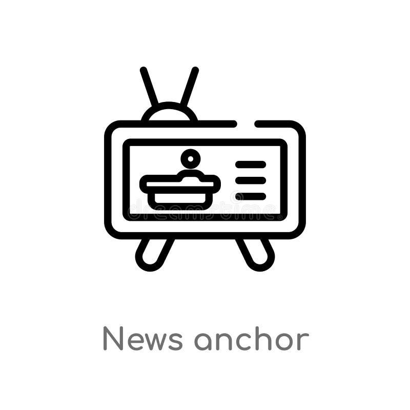 Entwurfsnachrichtenanker-Vektorikone lokalisiertes schwarzes einfaches Linienelementillustration vom Kommunikationskonzept Editab lizenzfreie abbildung