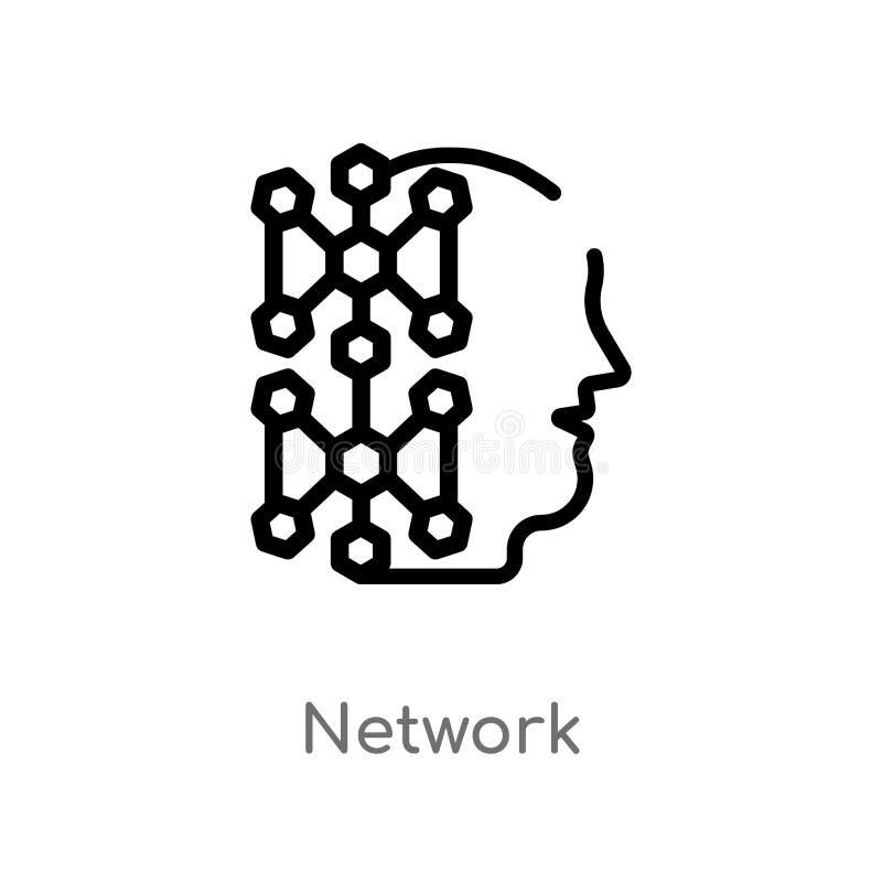 Entwurfsnetz-Vektorikone lokalisiertes schwarzes einfaches Linienelementillustration vom Konzept der künstlichen Intelligenz Edit stock abbildung