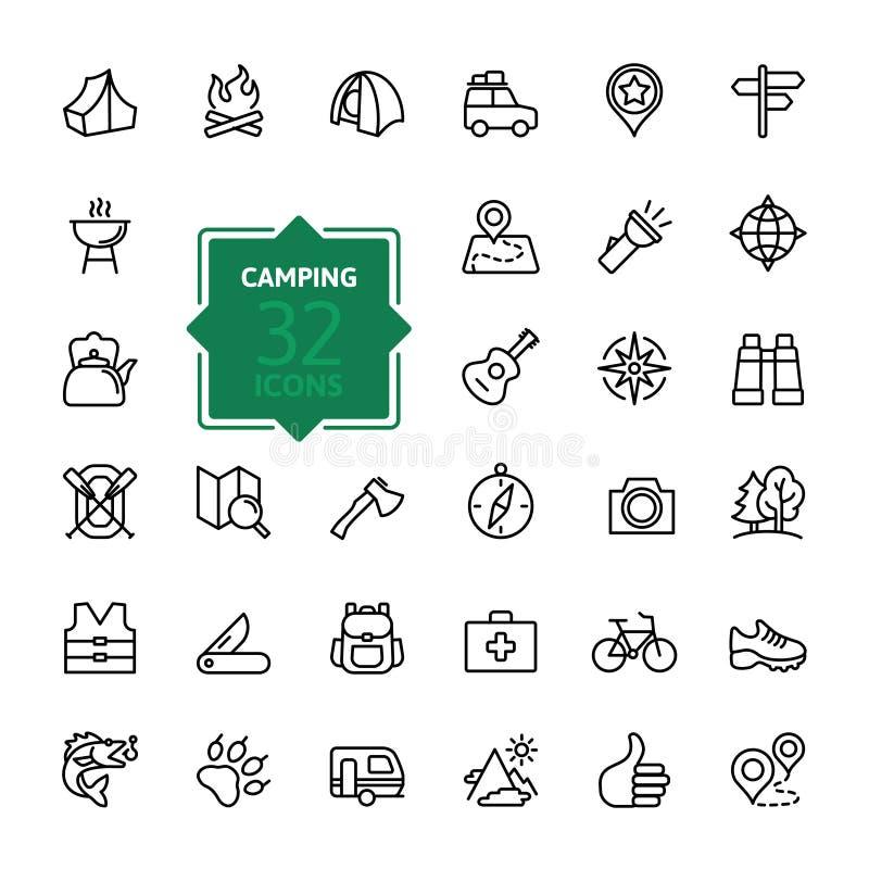 Entwurfsnetzikone stellte - das Sommerkampieren ein, im Freien, Reise vektor abbildung