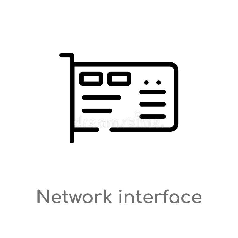 Entwurfsnetzwerkschnittstellekarten-Vektorikone lokalisiertes schwarzes einfaches Linienelementillustration vom Hardware-Konzept  lizenzfreie abbildung