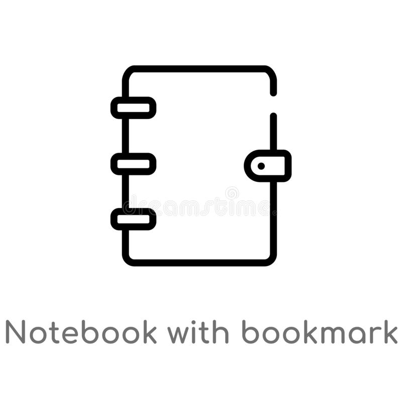 Entwurfsnotizbuch mit Bookmarkvektorikone lokalisiertes schwarzes einfaches Linienelementillustration vom Ausbildungskonzept edit lizenzfreie abbildung