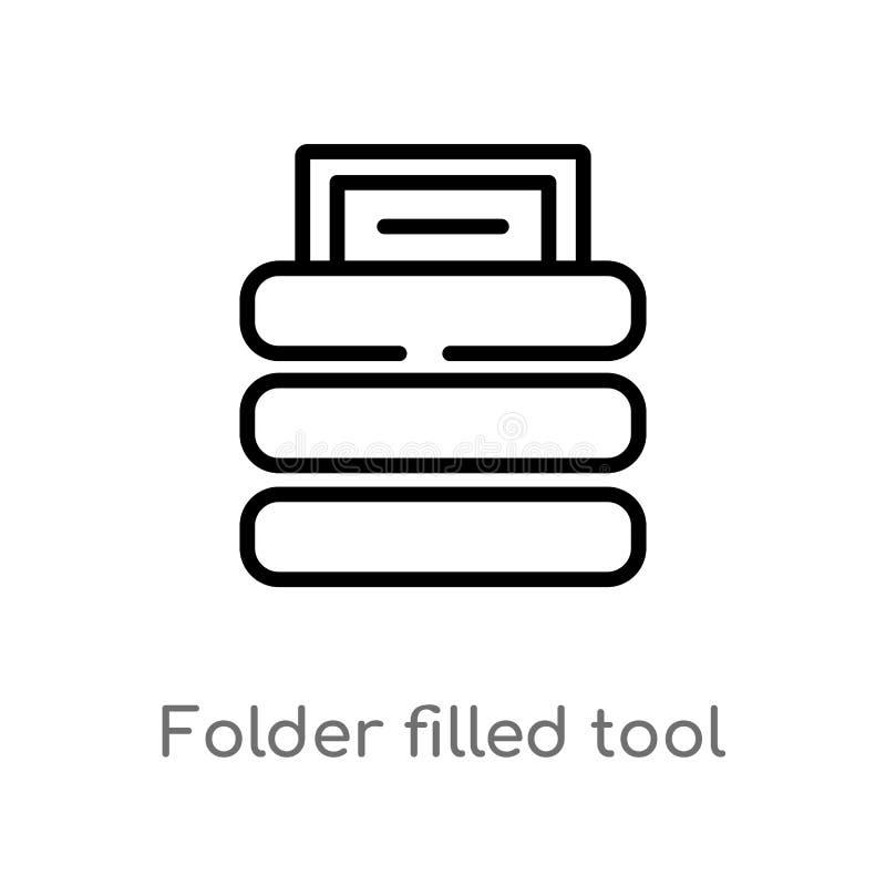 Entwurfsordner füllte Werkzeugvektorikone lokalisiertes schwarzes einfaches Linienelementillustration von den Dateien und vom Ord stock abbildung