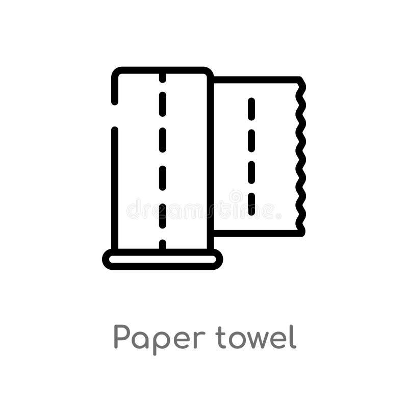 Entwurfspapierhandtuch-Vektorikone lokalisiertes schwarzes einfaches Linienelementillustration vom Hygienekonzept Editable Vektor lizenzfreie abbildung