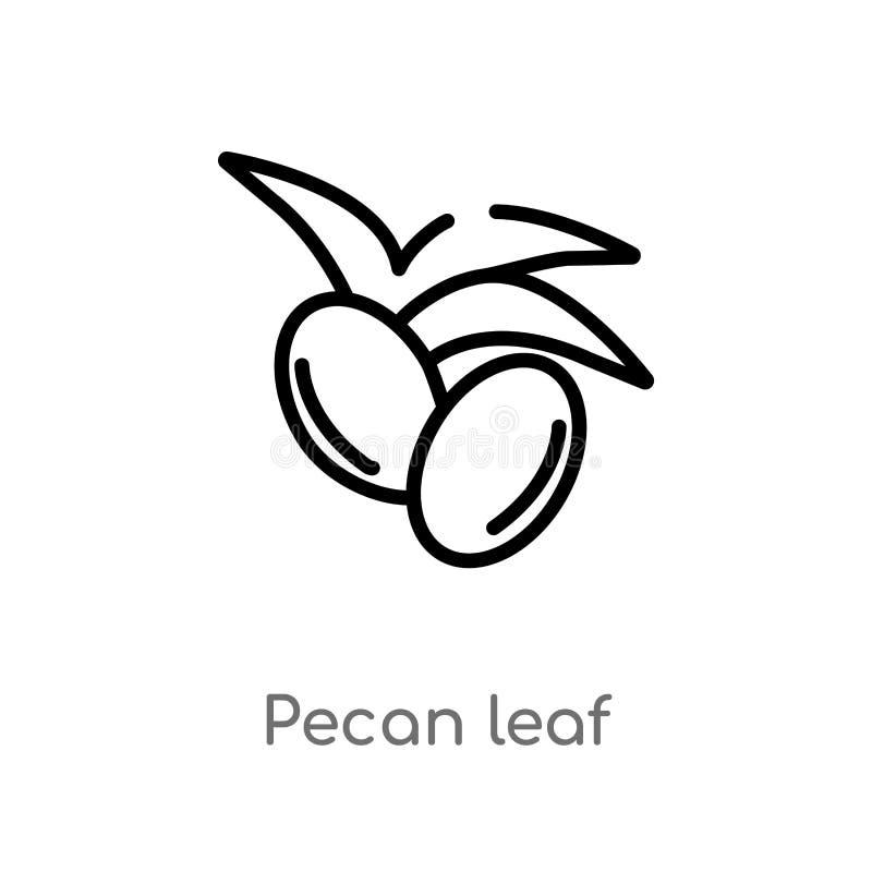 Entwurfspekannussblatt-Vektorikone lokalisiertes schwarzes einfaches Linienelementillustration vom Naturkonzept editable Vektoran lizenzfreie abbildung